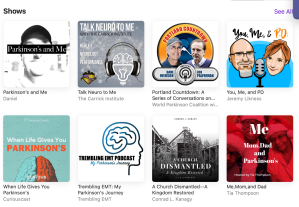 Parkinson's and Me in the list of shows in the Podcast app.