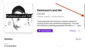 Scroll bar to move down the window for Parkinson's and Me.